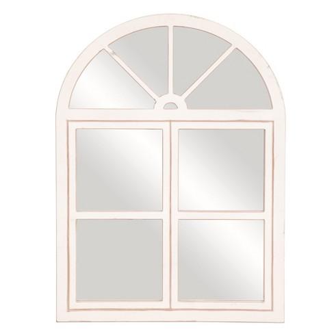 39 X29 Rustic Farmhouse Arch, White Decorative Window Pane Mirror