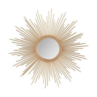 """14.5"""" Dia Fiore Sunburst Round Decorative Wall Mirror Gold"""