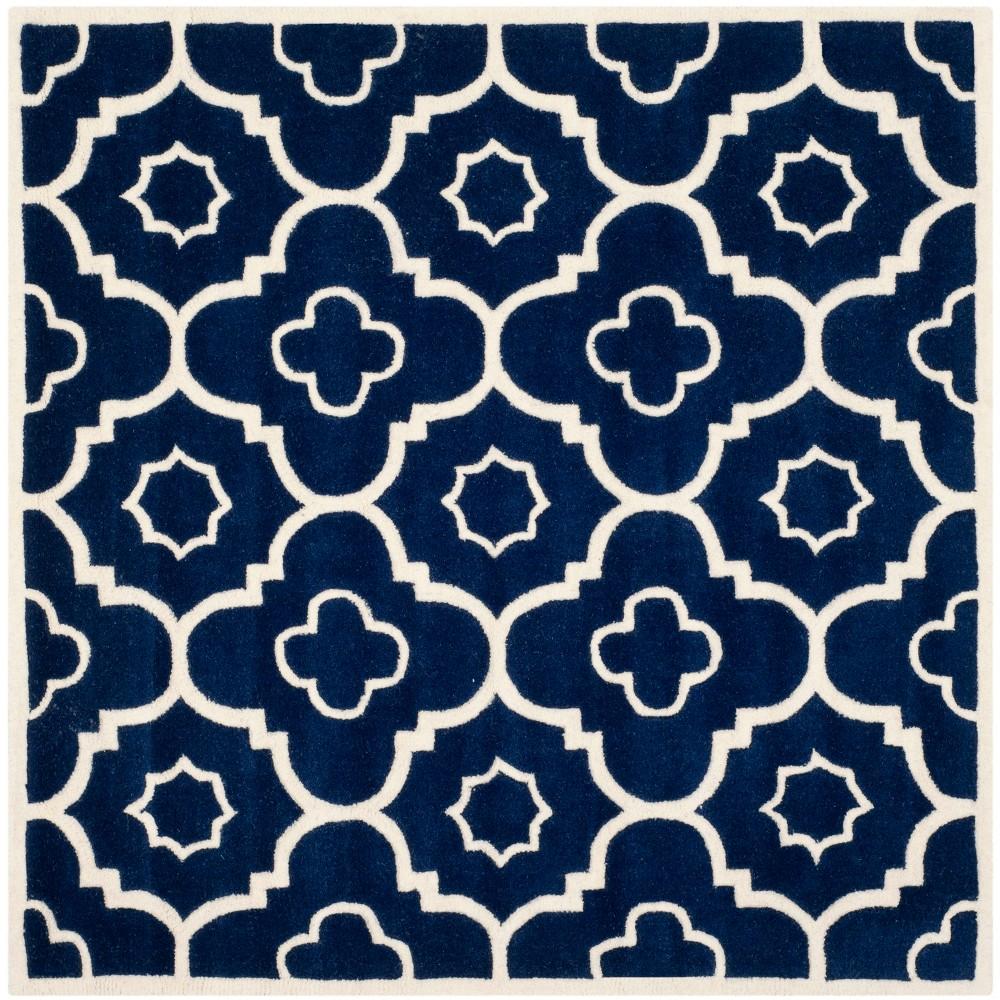 5'X5' Geometric Square Area Rug Dark Blue/Ivory - Safavieh