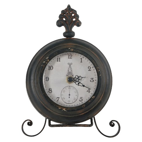 Round Table Clock with Fleur De Lis Black Patina - A&B Home® - image 1 of 1