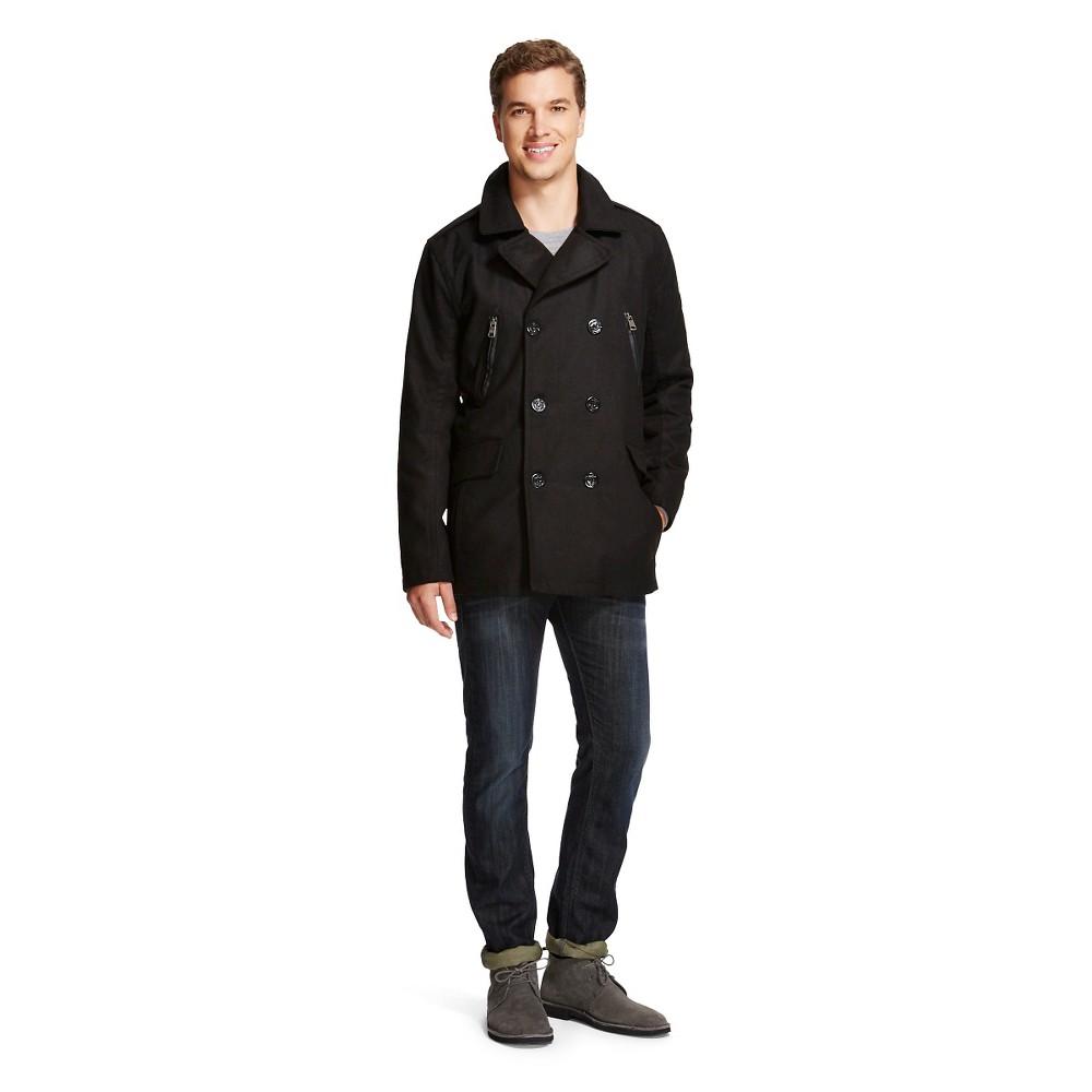 Urban Republic - Men's Wool Blend Pea Coat Black L