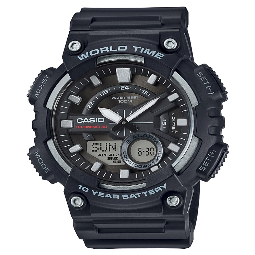 Image of Casio Men's Ana-Digi Watch, Black - AEQ110W-1AVCF, Size: Small