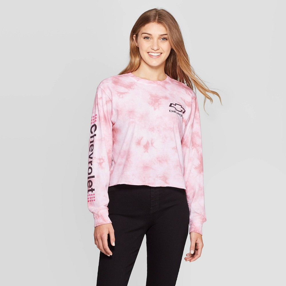Image of Women's Chevrolet Long Sleeve Graphic Cropped T-Shirt (Juniors') - Blush Pink Wash L, Women's, Size: Large