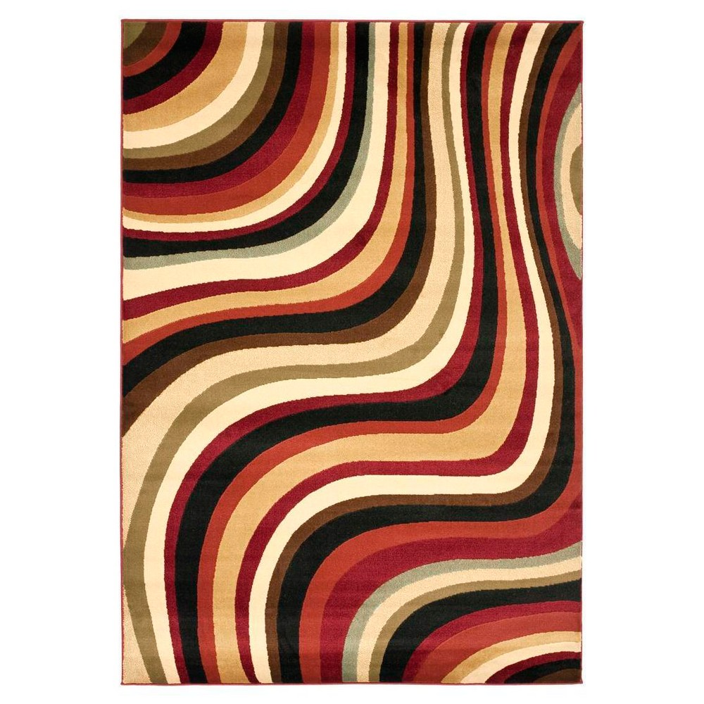 Red/Multi Abstract Woven Area Rug - (6'7