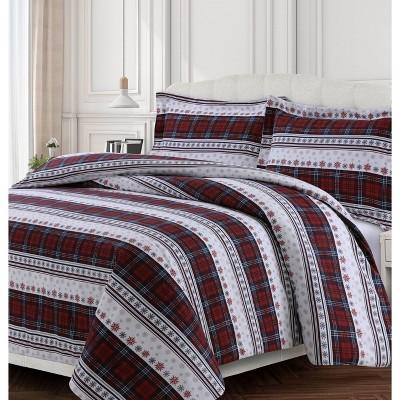 Comfy Stripe Cotton Flannel Printed Oversized Duvet Set - Tribeca Living