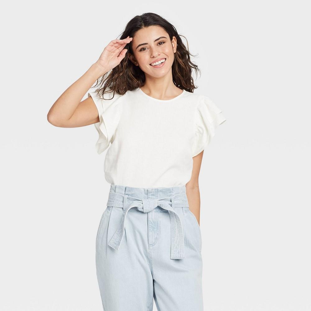 Women 39 S Ruffle Short Sleeve Linen Top A New Day 8482 White Xl