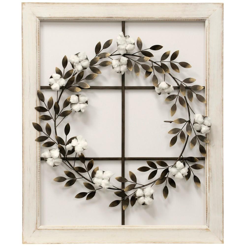 26.18 Floral Wreath Wood Framed Wall Art - StyleCraft, Multi-Colored