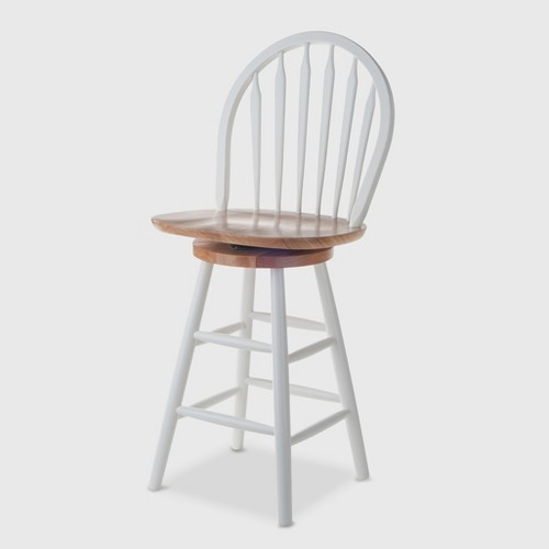 'Kitchen 24'' Counter Stool Hardwood/White - Winsome'