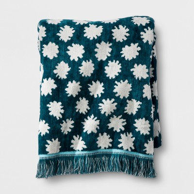 Sheered Floral Fringed Bath Towel Teal Green - Opalhouse™