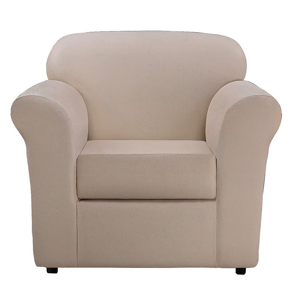 Image of 2pc Ultimate Stretch Leather Chair Slipcover Pebbled Ivory - Sure Fit