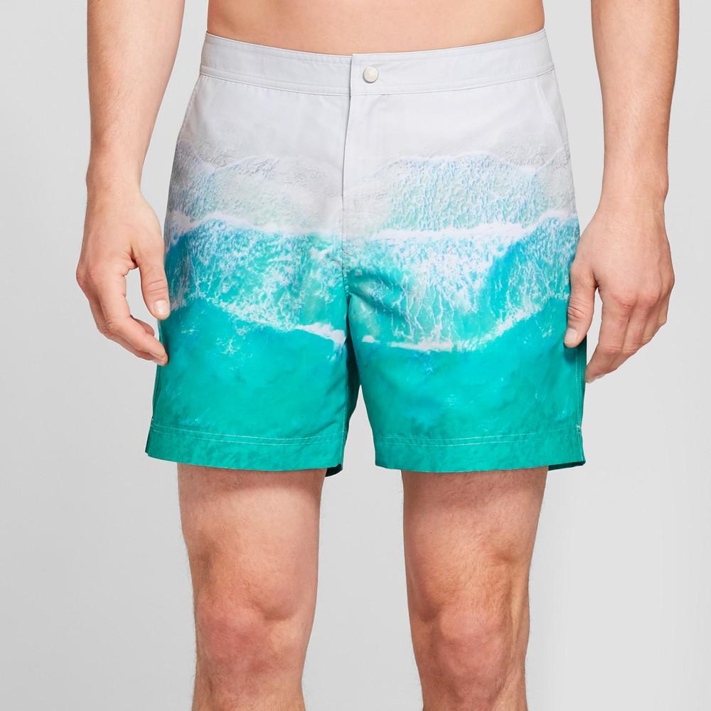 Men's 6 Shore Brake Snap Swim Trunks - Goodfellow & Co Ocean Blue Wave 28