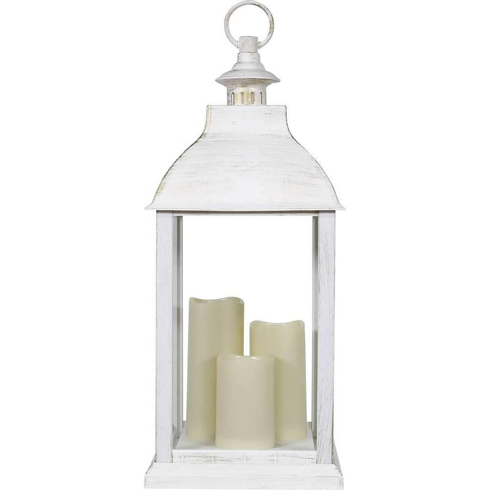 Alpine 22 34 Candlelit Lantern With Led Lights White