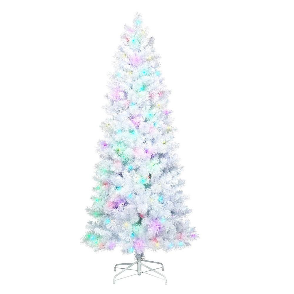 Image of Philips 7ft Pre-lit Slim Artificial Christmas Tree White Iridescent Tinsel Douglas Fir Rainbow LED Lights