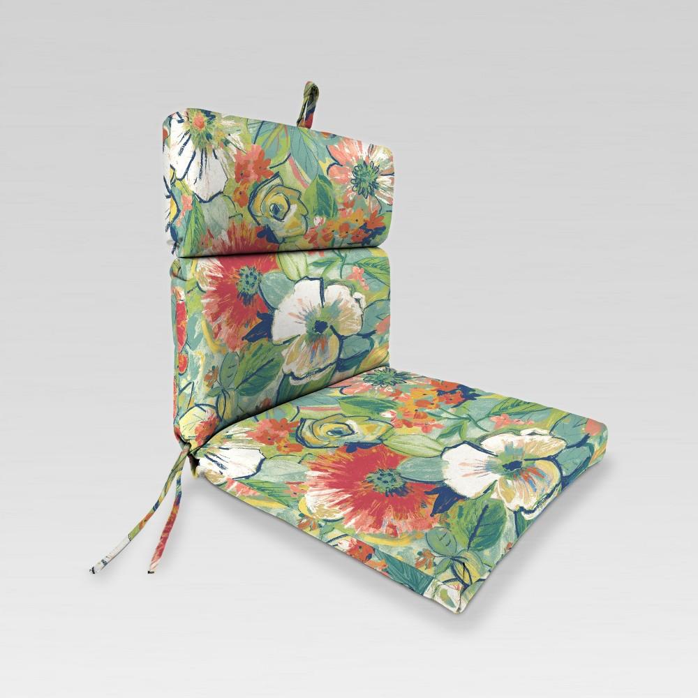Outdoor French Edge Dining Chair Cushion - Green Botanical - Jordan Manufacturing