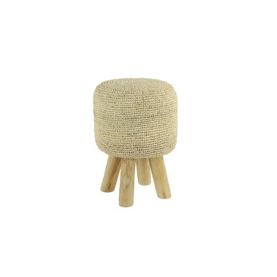 Accent Stool, Round Teak and Fabric White Finish - Olivia & May