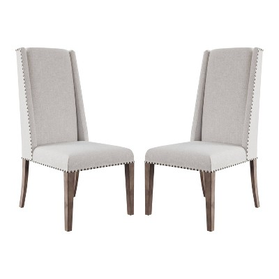 Set of 2 Marjorie Acacia Upholstered Dining Chair Cream/Gray - Abbyson Living