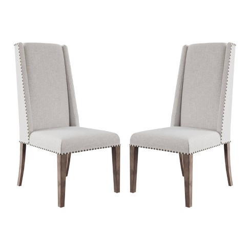Set Of 2 Marjorie Acacia Upholstered Dining Chair Cream Gray Abbyson Living Target