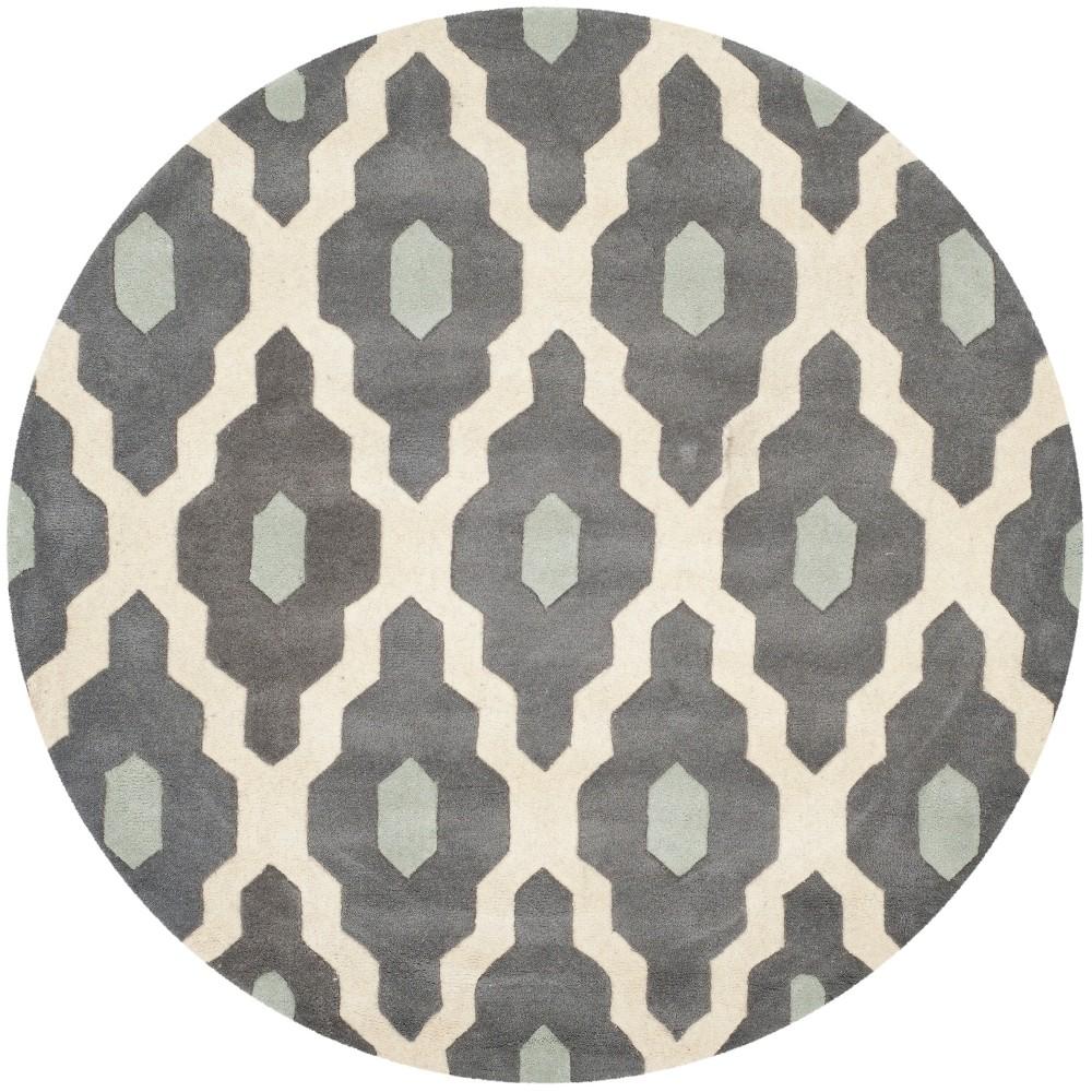 7' Geometric Round Area Rug Ivory/Dark Gray - Safavieh