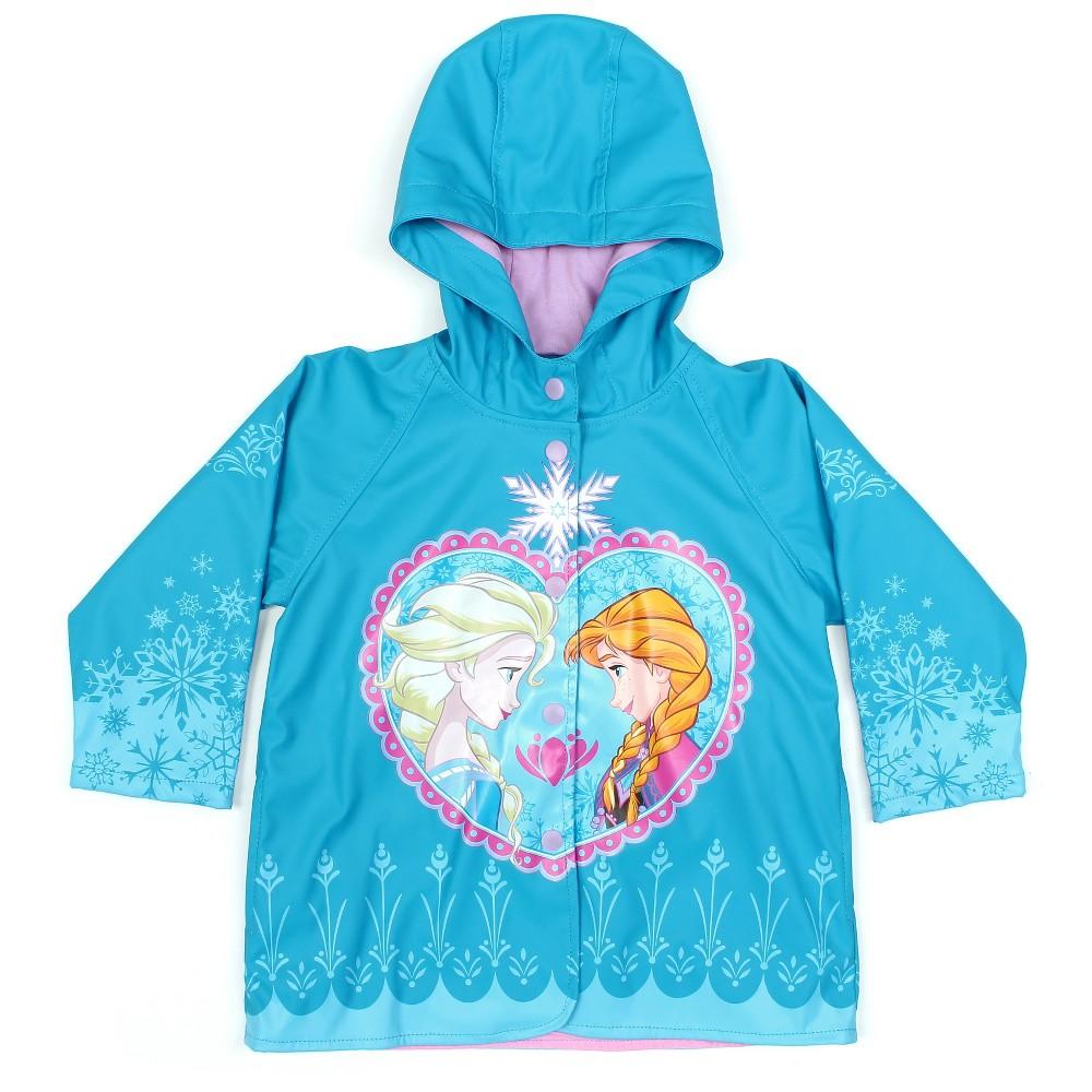 Toddler Girls' Frozen Anna & Elsa Rain Coats - Blue 4T