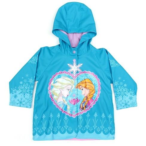 40423d434 Toddler Girl Frozen Anna   Elsa Rain Coat Blue - License-Frozen   Target