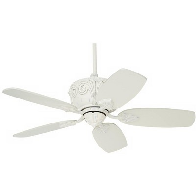 "44"" Casa Vieja Shabby Chic Ceiling Fan Antique Rubbed White for Living Room Kitchen Bedroom Family Dining"