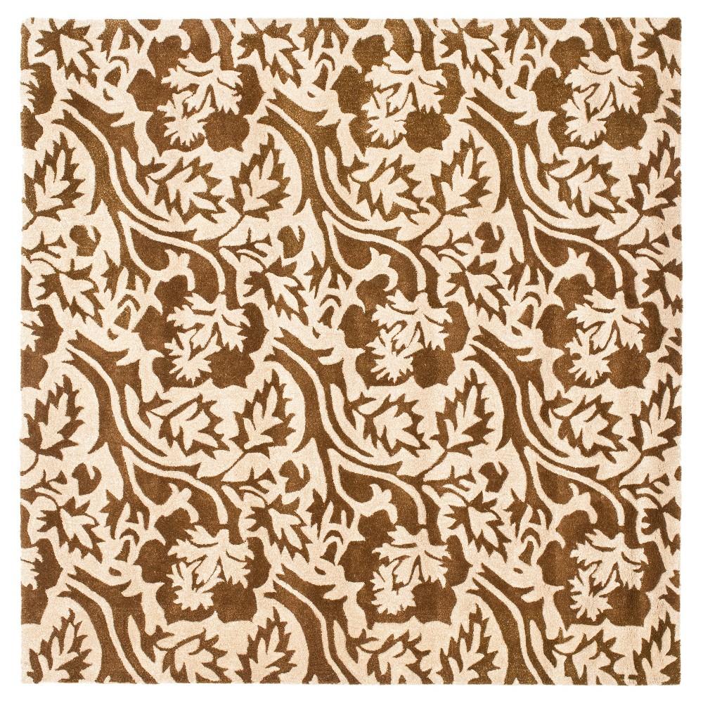 Brown/Ivory Botanical Tufted Square Area Rug - (6'X6') - Safavieh