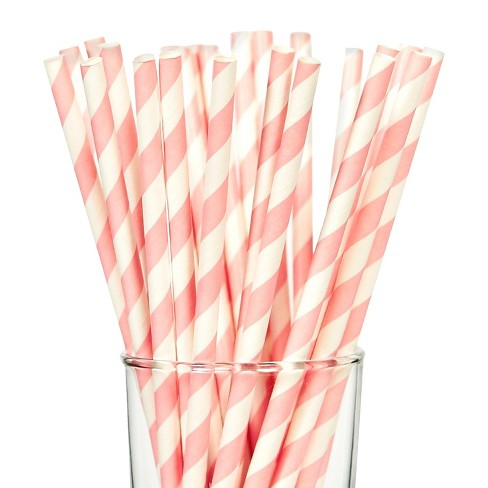 25ct Pink Stripes Paper Straw - image 1 of 1