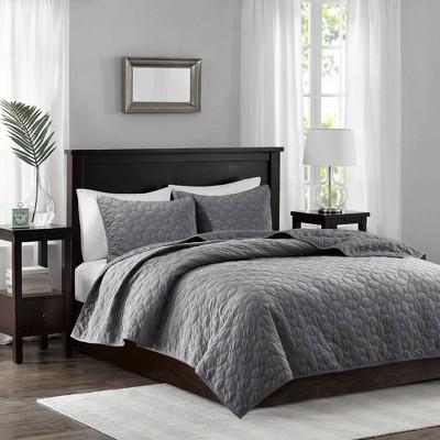 Gray Mercer Polyester Velvet Quilt Set (King/California King)