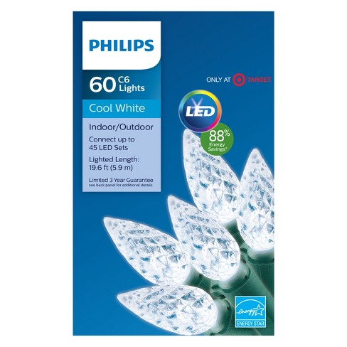 philips 60ct christmas led c6 faceted string lights cool white gw target
