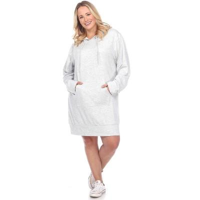 Women's Plus Size Hoodie Sweatshirt Dress - White Mark