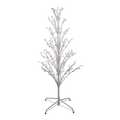 Northlight 4' Prelit Artificial Christmas Tree White Lighted Cascade Twig Outdoor Decoration - Multi-Color Lights