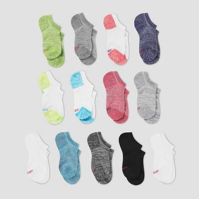 Hanes Girls' 12 + 1 No Show Socks Bonus Pack- Colors Vary
