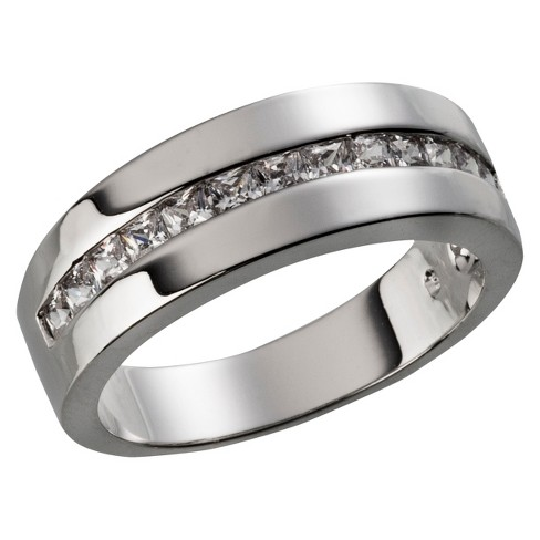 Silver Plated Square Cut Cubic Zirconia Channel Set Wedding Band - Size 6 - image 1 of 1