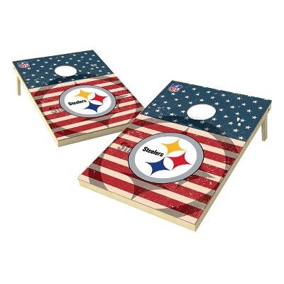 NFL Pittsburgh Steelers Wild Sports Worn Shadow Stars and Stripes 2x3ft. Cornhole Bean Bag Toss Set