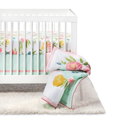 Crib Bedding Set Floral Fields 4pc - Cloud Island™ Pink/Mint