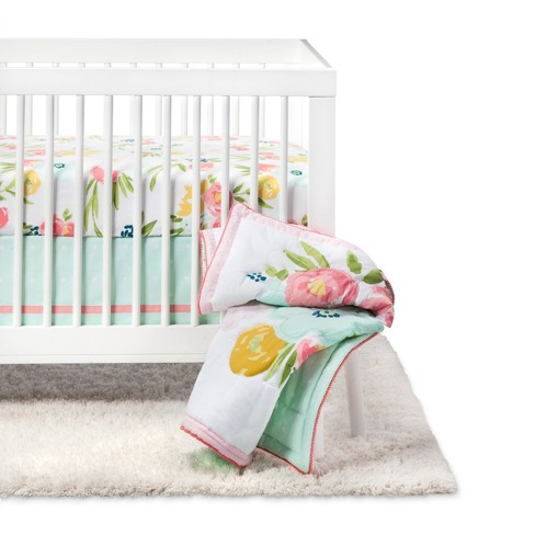 Crib Bedding Set Floral Fields 4pc - Cloud Island™ Pink/Mint - image 1 of 4