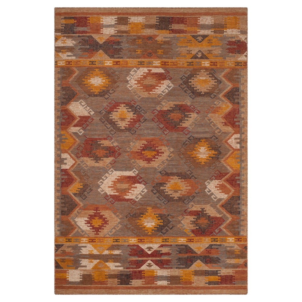 5 39 X8 39 Geometric Design Woven Area Rug Red Brown Red Safavieh