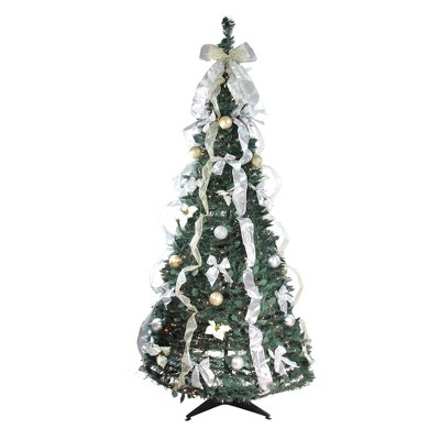 Northlight 6' Prelit Artificial Christmas Tree Silver and Gold Decorated Pop Up - Clear Lights