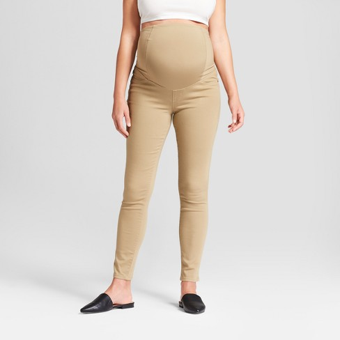 Maternity Crossover Panel Skinny Jeans - Isabel Maternity by Ingrid & Isabel™ Tan - image 1 of 4