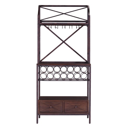 Aris Bakers Rack/Microwave Stand Antique Brown With Dark Pine - Aiden Lane - image 1 of 7