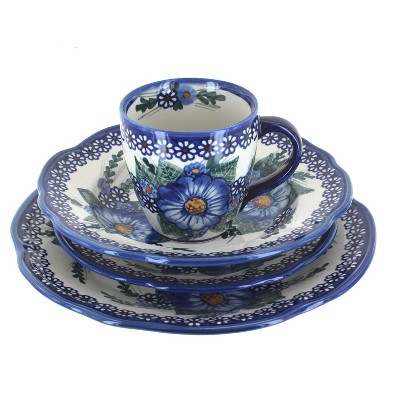 Blue Rose Polish Pottery Clementine 16 Piece Dinnerware Set
