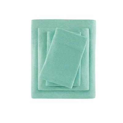 Heathered Cotton Jersey Knit Sheet Set Full Aqua