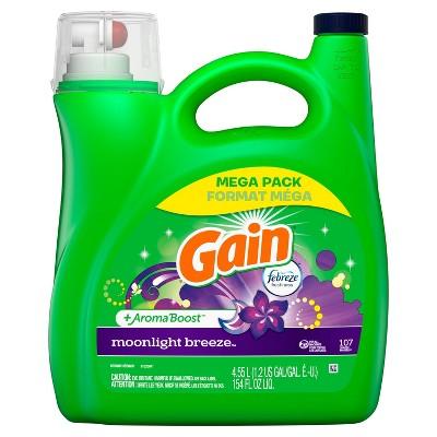 Gain + Aroma Boost Moonlight Breeze Scent HE Compatible Liquid Laundry Detergent - 154 fl oz