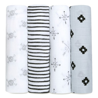 Aden + Anais Swaddles 4pk - Lovestruck - Gray
