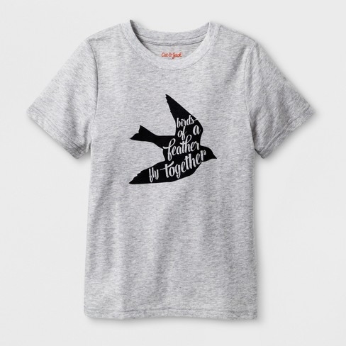 "Kids' Short Sleeve ""Birds of A Feather"" Graphic T-Shirt - Cat & Jack™ Heather Gray - image 1 of 2"