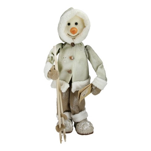 """Northlight 21.5"""" White and Brown Skiing Snowman Christmas Figure Decoration - image 1 of 3"""