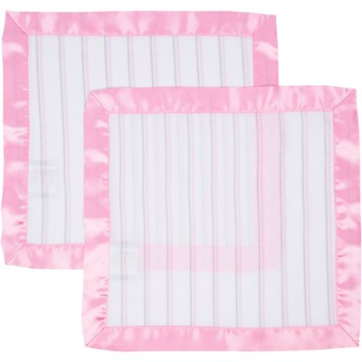MiracleWare Muslin Security Blanket Pink Stripes - 2pk