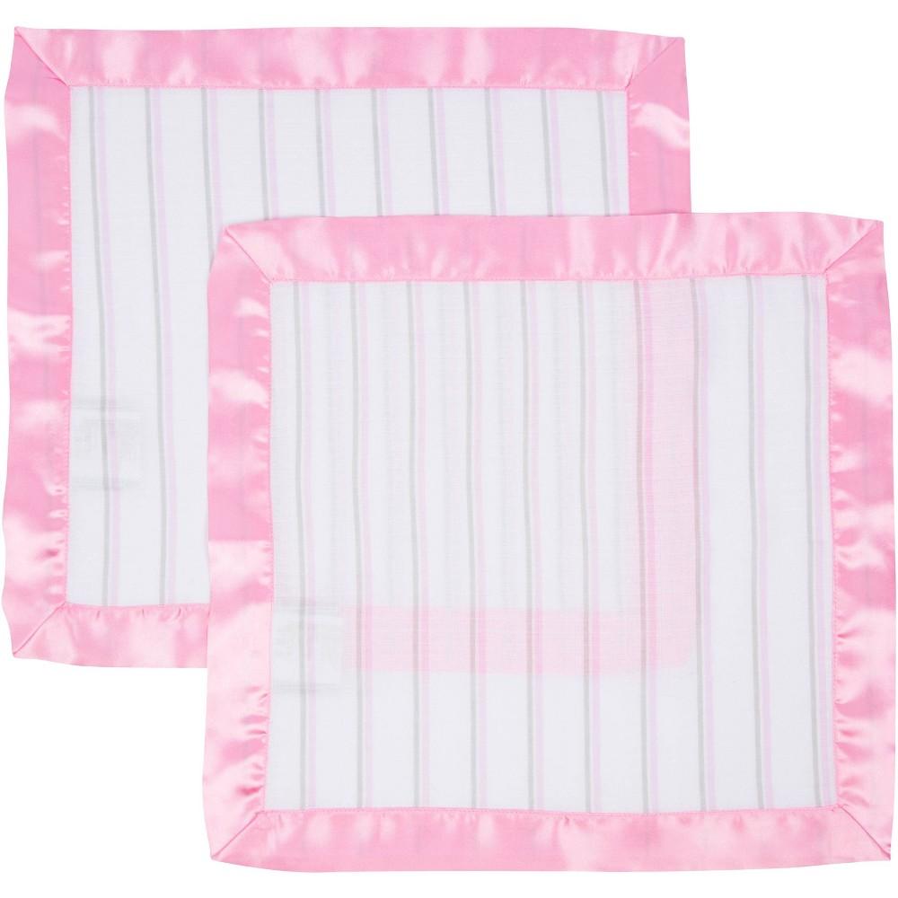 Miracleware Muslin Security Blanket Pink Stripes 2pk