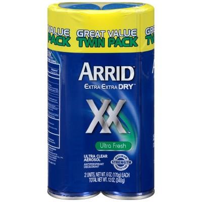 Arrid XX Extra Extra Dry Ultra Clear Aerosol Antiperspirant & Deodorant Ultra Fresh Twin Pack - 6oz/2pk