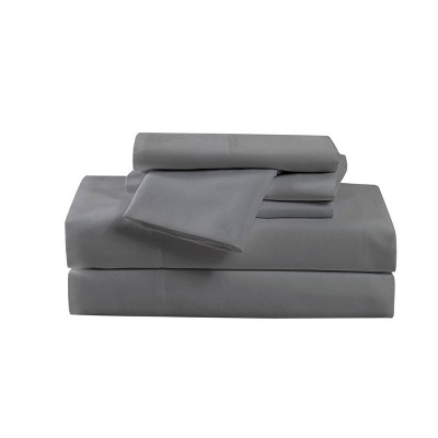 King 6pc Heritage Microfiber Solid Sheet Set Gray - Cannon